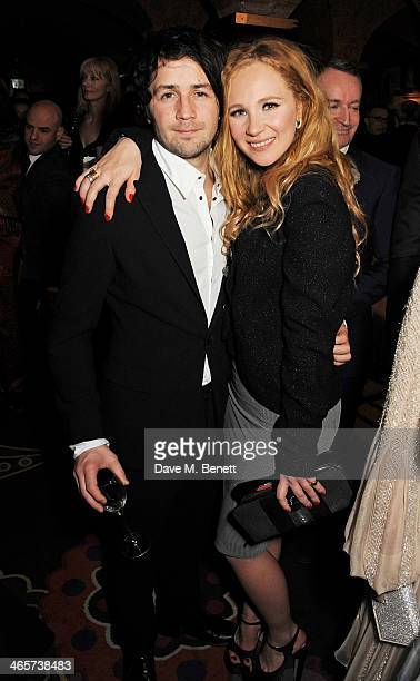 Michael Angarano and Juno Temple attend the Charles Finch and Chanel PreBAFTA cocktail party and dinner at Annabel's on February 8 2013 in London...