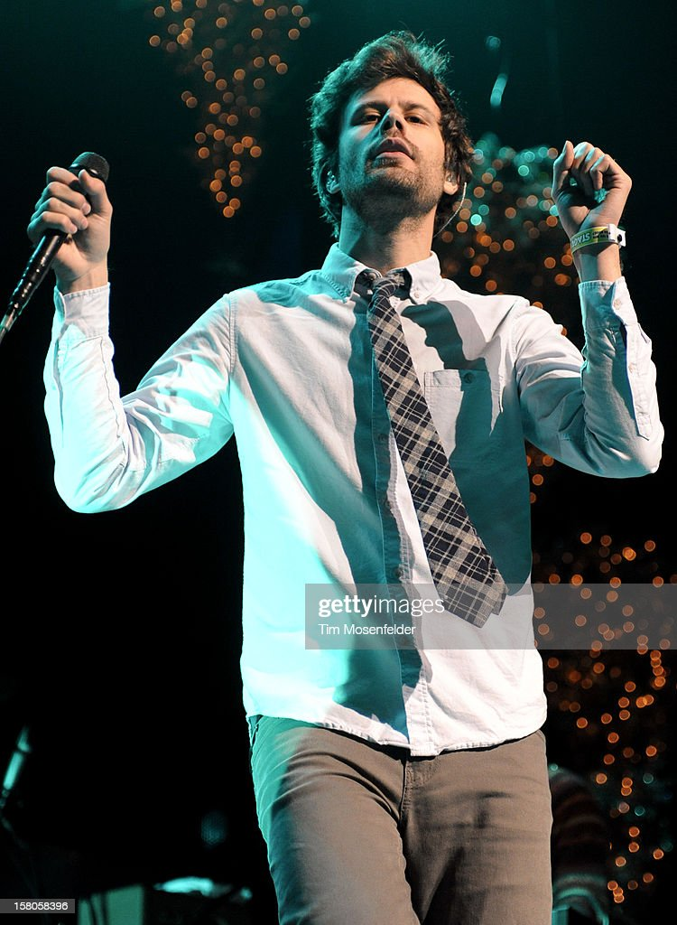Michael Angelakos of Passion Pit perform during KROQ's Almost Acoustic Christmas Day Two at Gibson Amphitheatre on December 9, 2012 in Universal City, California.