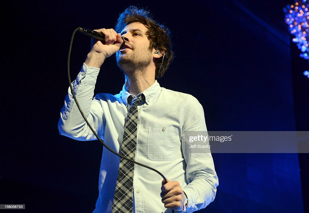 Michael Angelakos of Passion Pit performs at the KROQ Acoustic Xmas show at Gibson Amphitheatre on December 9, 2012 in Universal City, California.