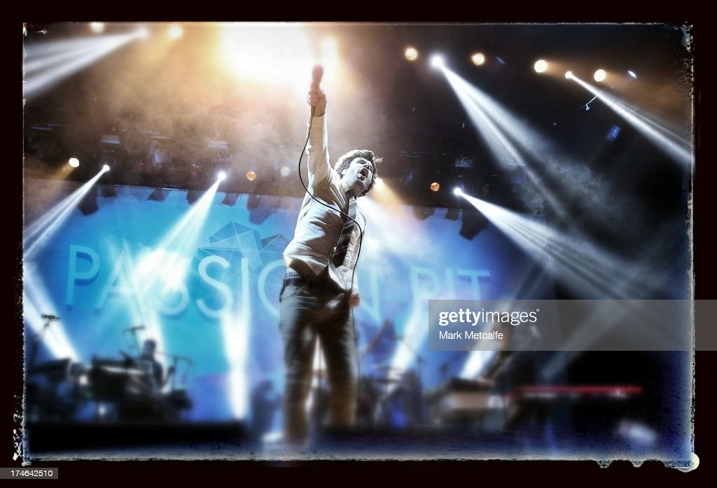 <a gi-track='captionPersonalityLinkClicked' href=/galleries/search?phrase=Michael+Angelakos&family=editorial&specificpeople=5735300 ng-click='$event.stopPropagation()'>Michael Angelakos</a> of Passion Pit performs for fans on day 3 of the 2013 Splendour In The Grass Festival on July 28, 2013 in Byron Bay, Australia.