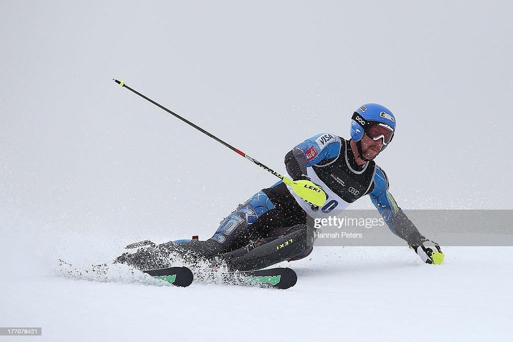 Michael Ankeny of the USA competes during the Alpine Slalom (FIS Australia New Zealand Cup) during day seven of the Winter Games NZ at Coronet Peak on August 21, 2013 in Queenstown, New Zealand.