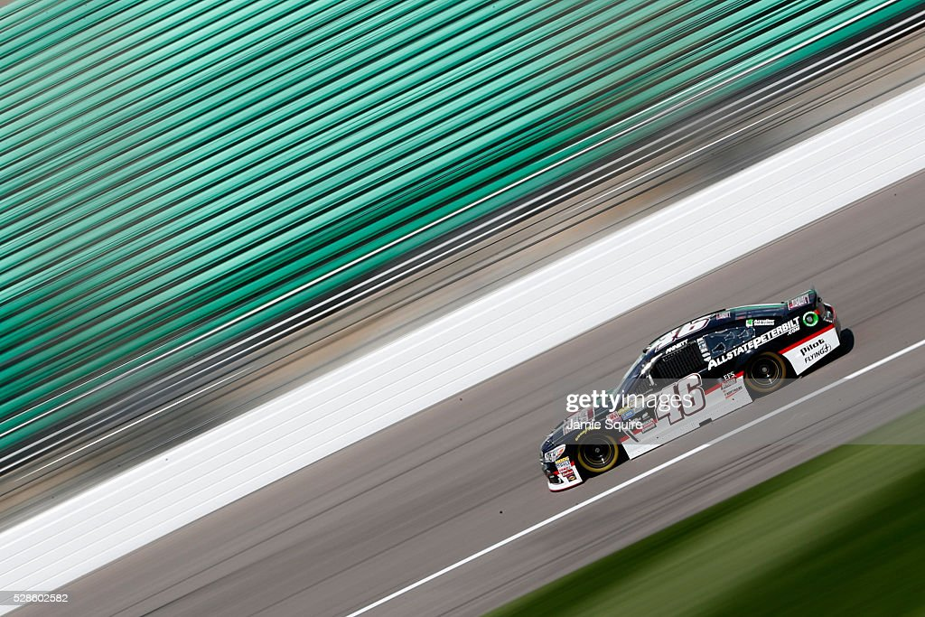 <a gi-track='captionPersonalityLinkClicked' href=/galleries/search?phrase=Michael+Annett&family=editorial&specificpeople=4531973 ng-click='$event.stopPropagation()'>Michael Annett</a>, driver of the #46 Allstate Peterbilt Group Chevrolet, drives during practice for the NASCAR Sprint Cup Series Go Bowling 400 at Kansas Speedway on May 6, 2016 in Kansas City, Kansas.