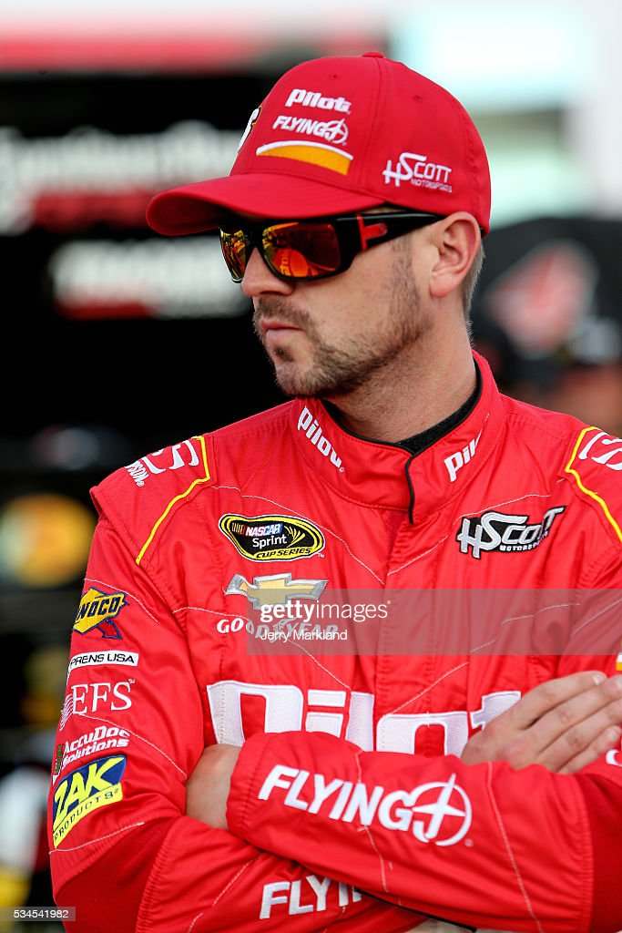 <a gi-track='captionPersonalityLinkClicked' href=/galleries/search?phrase=Michael+Annett&family=editorial&specificpeople=4531973 ng-click='$event.stopPropagation()'>Michael Annett</a>, driver of the #46 Pilot Flying J Chevrolet, looks on during qualifying for the NASCAR Sprint Cup Series Coca-Cola 600 at Charlotte Motor Speedway on May 27, 2016 in Charlotte, North Carolina.