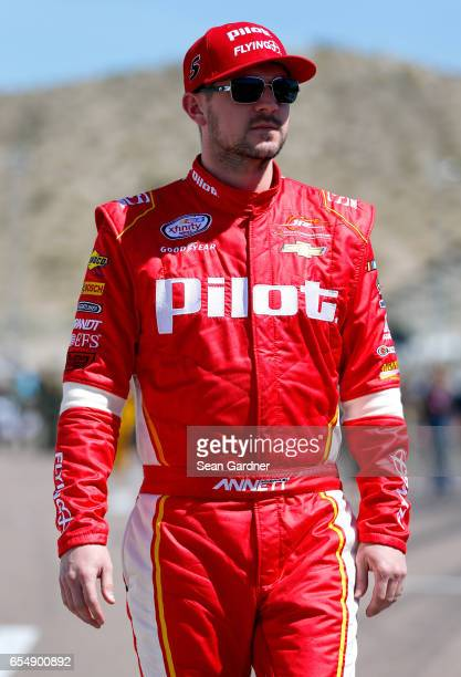 Michael Annett driver of the Pilot Flying J Chevrolet walks to his car during the NASCAR XFINITY Series DC Solar 200 at Phoenix International Raceway...