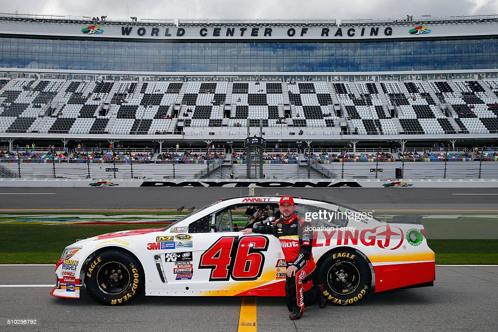 <a gi-track='captionPersonalityLinkClicked' href=/galleries/search?phrase=Michael+Annett&family=editorial&specificpeople=4531973 ng-click='$event.stopPropagation()'>Michael Annett</a>, driver of the #46 Pilot/Flying J Chevrolet, poses with his car after qualifying for the NASCAR Sprint Cup Series Daytona 500 at Daytona International Speedway on February 14, 2016 in Daytona Beach, Florida.