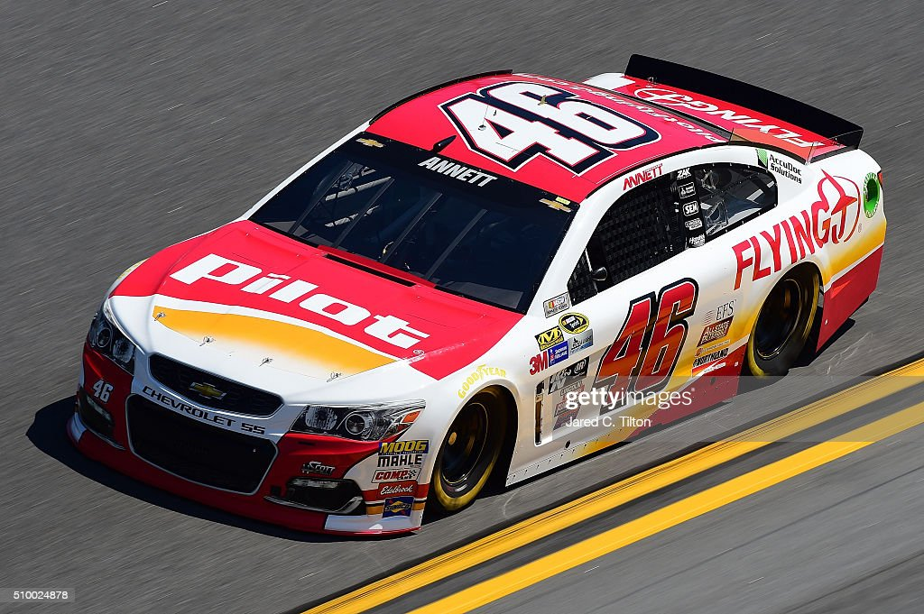 <a gi-track='captionPersonalityLinkClicked' href=/galleries/search?phrase=Michael+Annett&family=editorial&specificpeople=4531973 ng-click='$event.stopPropagation()'>Michael Annett</a>, driver of the #46 Pilot/Flying J Chevrolet, practices for the NASCAR Sprint Cup Series Daytona 500 at Daytona International Speedway on February 13, 2016 in Daytona Beach, Florida.