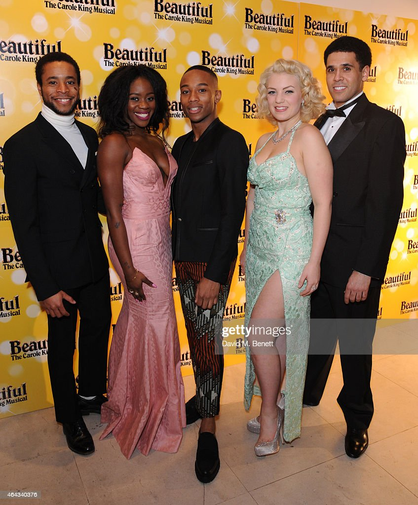 Michael Anthony Duke, Aisha Jawando, Fela Lufadeju, Joanna Woodward and Jason Denton attend an after party following the press night performance of 'Beautiful: The Carole King Musical', playing at the Aldwych Theatre, at the Somerset House on February 24, 2015 in London, England.
