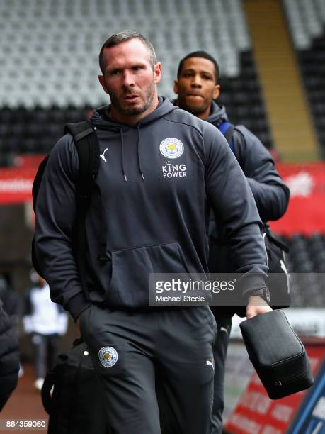 Michael Appleton caretaker manager of Leicester City arrives prior to the Premier League match between Swansea City and Leicester City at Liberty...
