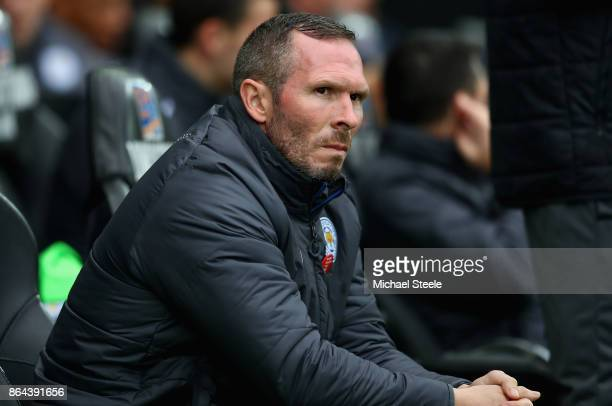 Michael Appleton caretaker manager of Leicester City looks on ahead of the Premier League match between Swansea City and Leicester City at Liberty...