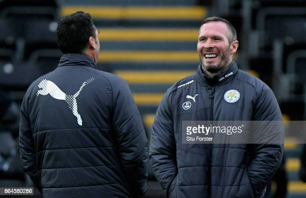 Michael Appleton caretaker manager of Leicester City looks on prior to the Premier League match between Swansea City and Leicester City at Liberty...