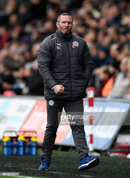 Michael Appleton caretaker manager of Leicester City reacts during the Premier League match between Swansea City and Leicester City at Liberty...