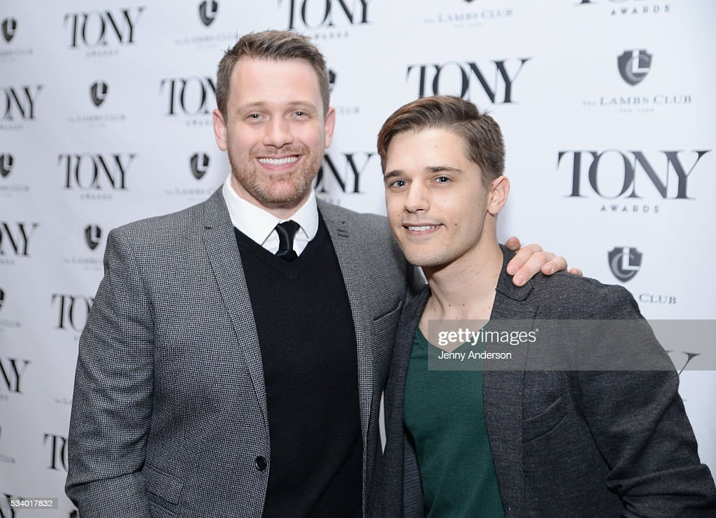 Michael Arden (L) and Andy Mientus arrive at A Toast To The 2016 Tony Awards Creative Arts Nominees at The Lambs Club on May 24, 2016 in New York City.