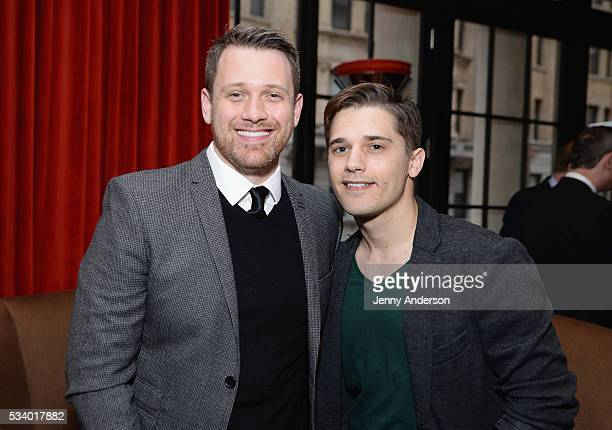 Michael Arden and Andy Mientus arrive at A Toast To The 2016 Tony Awards Creative Arts Nominees at The Lambs Club on May 24 2016 in New York City