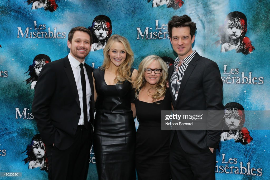 Michael Arden, <a gi-track='captionPersonalityLinkClicked' href=/galleries/search?phrase=Betsy+Wolfe&family=editorial&specificpeople=6888015 ng-click='$event.stopPropagation()'>Betsy Wolfe</a>, <a gi-track='captionPersonalityLinkClicked' href=/galleries/search?phrase=Rachael+Harris&family=editorial&specificpeople=240713 ng-click='$event.stopPropagation()'>Rachael Harris</a> and Christian Hebel attend the opening night of Cameron Mackintosh's new production of Boublil and Schonberg's 'Les Miserables' on Broadway at The Imperial Theatre on March 23, 2014 in New York City.