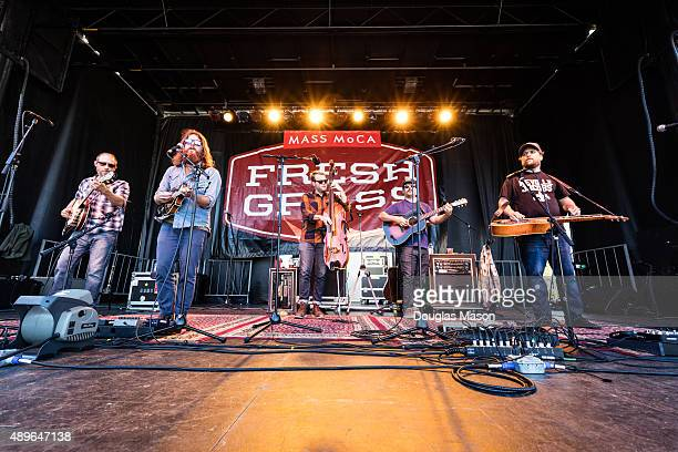 Michael Arlen Bont Paul Hoffman Mike Devol Dave Bruzza and Anders Beck of Greensky Bluegrass performs during the FreshGrass Bluegrass Festival 2015...