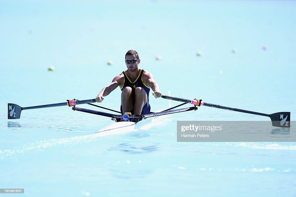Michael Arms of Auckland competes in the Men's Premier1X heat during the New Zealand Rowing Championships at Lake Ruataniwha on February 19, 2013 in Twizel, New Zealand.