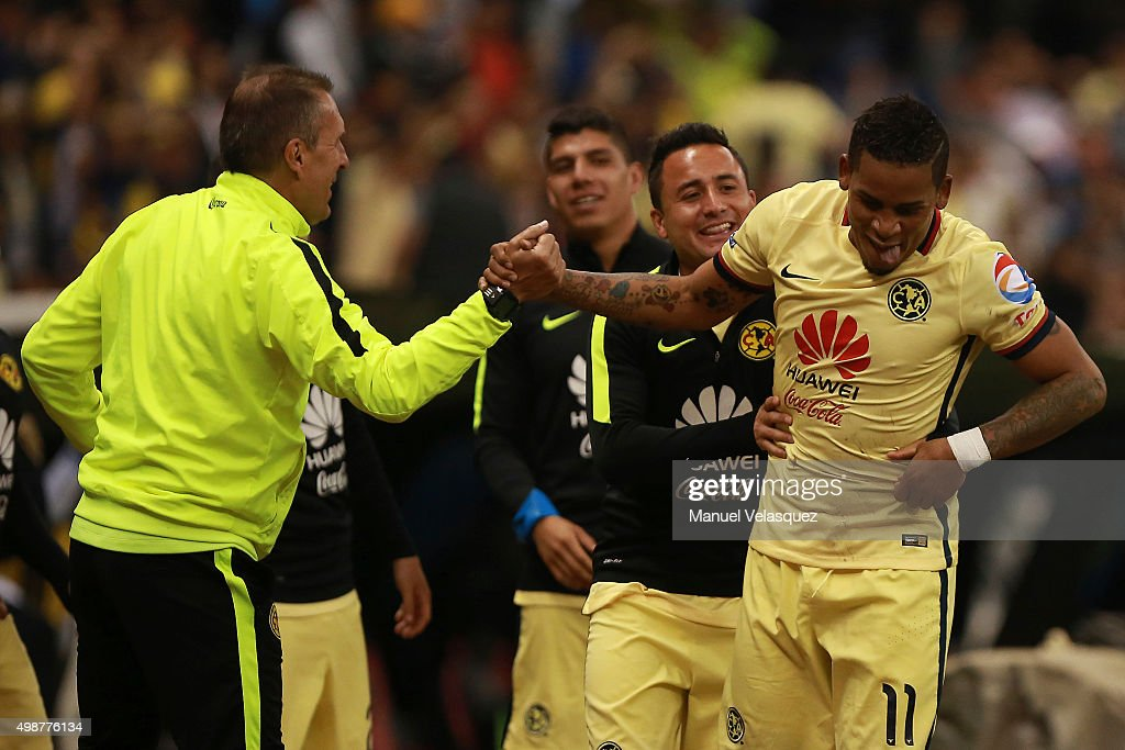 Michael Arroyo celebrates after scoring the fourth goal of his team during the quarterfinals first leg match between America and Leon as part of the...