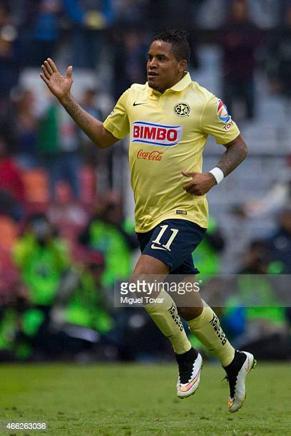 Michael Arroyo of America celebrates after scoring the first goal during a match between America and Santos Laguna as part of 10th round Clausura...