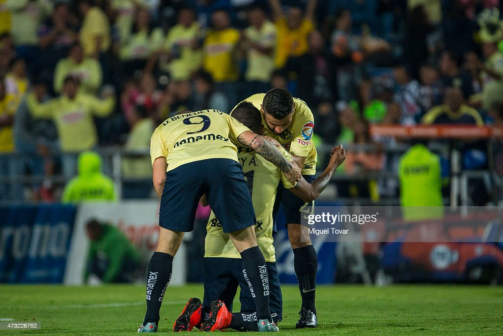 Michael Arroyo of America celebrates after scoring the first goal of his team during a quarterfinal first leg match between Pachuca and America as...