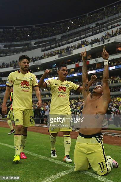 Michael Arroyo of America celebrates after scoring the first goal of his team during the Final second leg match between America and Tigres UANL as...
