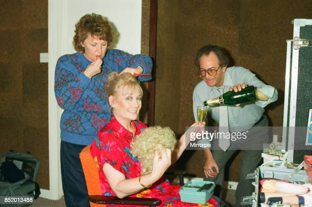 Michael Aspel surprises Liz Dawn for the TV show 'This is your Life' Liz is pictured backstage 26th October 1989
