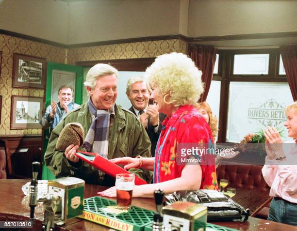 Michael Aspel surprises Liz Dawn for the TV show 'This is your Life' 26th October 1989