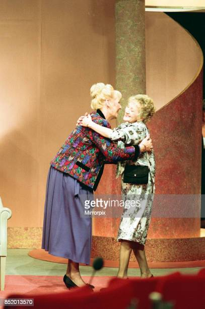 Michael Aspel surprises Liz Dawn for the TV show 'This is your Life' Liz is pictured with Thelma Barlow 26th October 1989