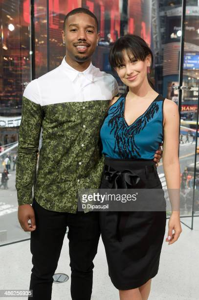 Michael B Jordan and Hilaria Baldwin visit 'Extra' at their New York studios at HM in Times Square on April 23 2014 in New York City