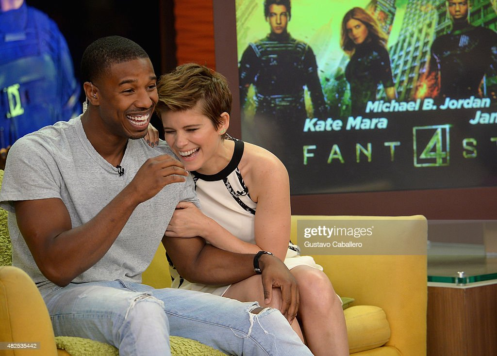 <a gi-track='captionPersonalityLinkClicked' href=/galleries/search?phrase=Michael+B.+Jordan+-+Actor&family=editorial&specificpeople=608313 ng-click='$event.stopPropagation()'>Michael B. Jordan</a> and <a gi-track='captionPersonalityLinkClicked' href=/galleries/search?phrase=Kate+Mara&family=editorial&specificpeople=544680 ng-click='$event.stopPropagation()'>Kate Mara</a> are seen during The Set Of Despierta America to promote the film 'Fantastic Four'at Univision Studios on July 31, 2015 in Miami, Florida.