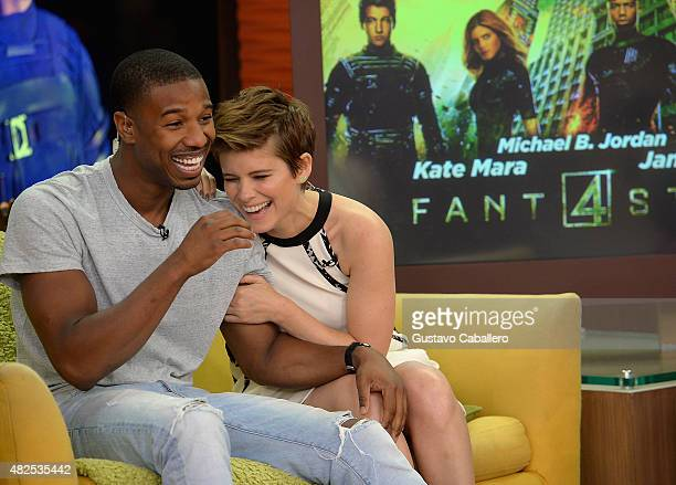 Michael B Jordan and Kate Mara are seen during The Set Of Despierta America to promote the film 'Fantastic Four'at Univision Studios on July 31 2015...