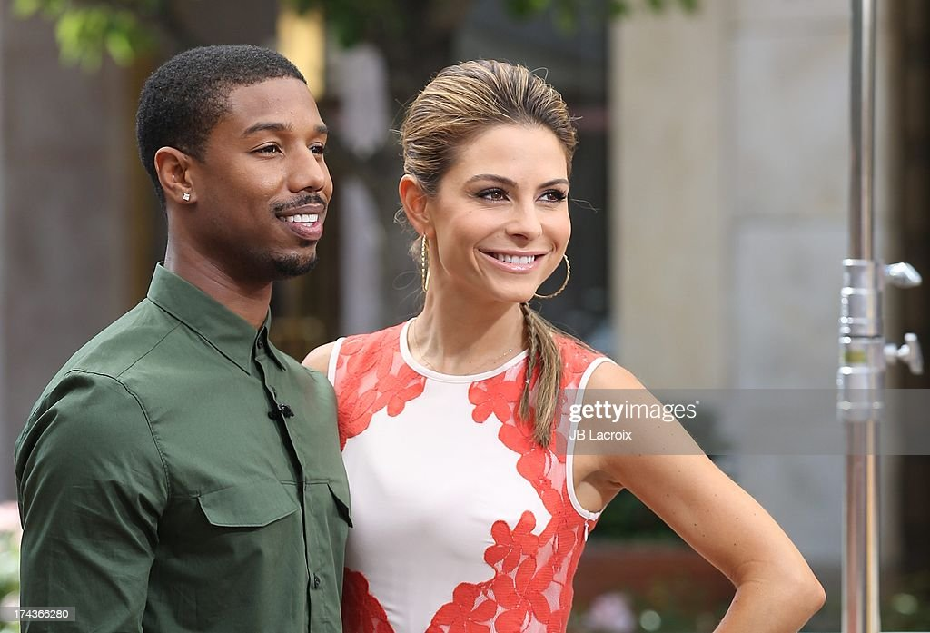 Michael B. Jordan and Maria Menounos are seen at The Grove on July 24, 2013 in Los Angeles, California.