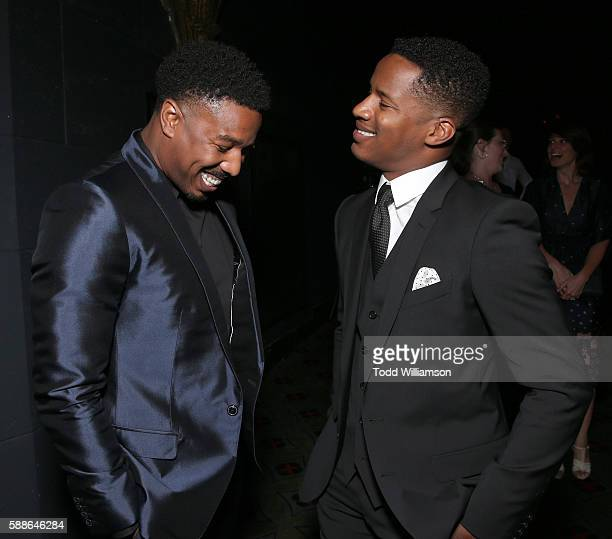 Michael B Jordan and Nate Parker attend Sundance Institute NIGHT BEFORE NEXT at The Theatre At The Ace Hotel on August 11 2016 in Los Angeles...