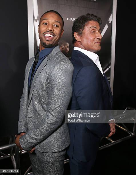 Michael B Jordan and Producer Sylvester Stallone attend the premiere of Warner Bros Pictures' 'Creed' at Regency Village Theatre on November 19 2015...