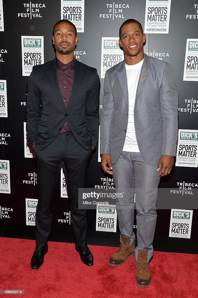 <a gi-track='captionPersonalityLinkClicked' href=/galleries/search?phrase=Michael+B.+Jordan+-+Actor&family=editorial&specificpeople=608313 ng-click='$event.stopPropagation()'>Michael B. Jordan</a> (L) and <a gi-track='captionPersonalityLinkClicked' href=/galleries/search?phrase=Victor+Cruz+-+American+Football+Player&family=editorial&specificpeople=8736842 ng-click='$event.stopPropagation()'>Victor Cruz</a> attend the Dick's Sporting Goods 'We Could Be King' Premiere during the 2014 Tribeca Film Festival at Sunshine Landmark on April 23, 2014 in New York City.