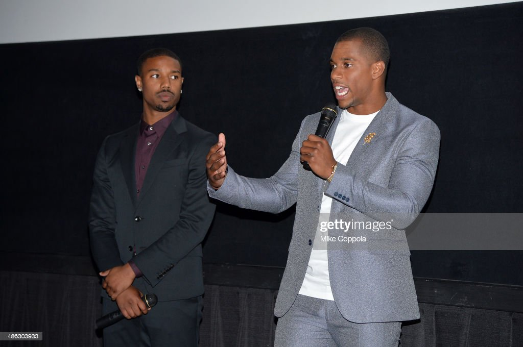 <a gi-track='captionPersonalityLinkClicked' href=/galleries/search?phrase=Michael+B.+Jordan+-+Actor&family=editorial&specificpeople=608313 ng-click='$event.stopPropagation()'>Michael B. Jordan</a> and <a gi-track='captionPersonalityLinkClicked' href=/galleries/search?phrase=Victor+Cruz+-+American+Football+Player&family=editorial&specificpeople=8736842 ng-click='$event.stopPropagation()'>Victor Cruz</a> attend the Dick's Sporting Goods 'We Could Be King' Premiere during the 2014 Tribeca Film Festival at Sunshine Landmark on April 23, 2014 in New York City.