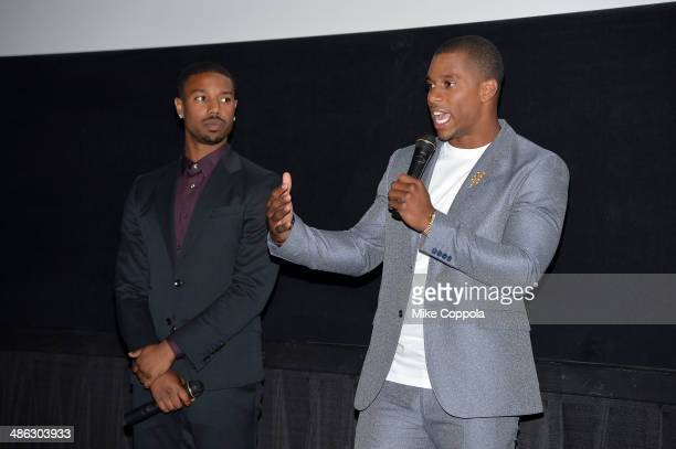 Michael B Jordan and Victor Cruz attend the Dick's Sporting Goods 'We Could Be King' Premiere during the 2014 Tribeca Film Festival at Sunshine...