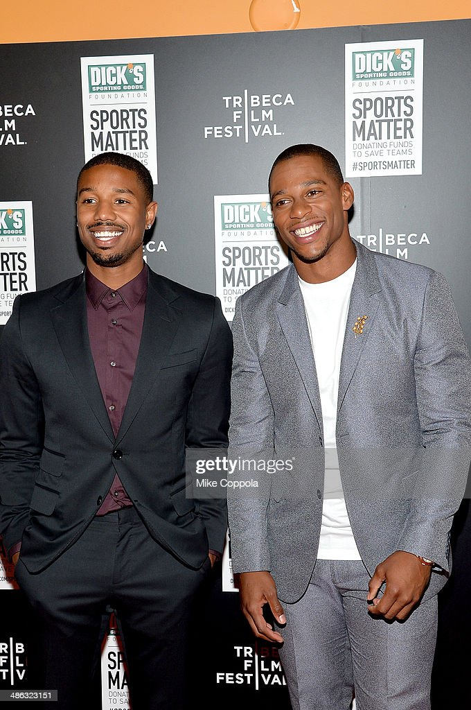 <a gi-track='captionPersonalityLinkClicked' href=/galleries/search?phrase=Michael+B.+Jordan+-+Actor&family=editorial&specificpeople=608313 ng-click='$event.stopPropagation()'>Michael B. Jordan</a> and <a gi-track='captionPersonalityLinkClicked' href=/galleries/search?phrase=Victor+Cruz+-+American+Football+Player&family=editorial&specificpeople=8736842 ng-click='$event.stopPropagation()'>Victor Cruz</a> attends the Dick's Sporting Goods 'We Could Be King' Premiere during the 2014 Tribeca Film Festival at Sunshine Landmark on April 23, 2014 in New York City.