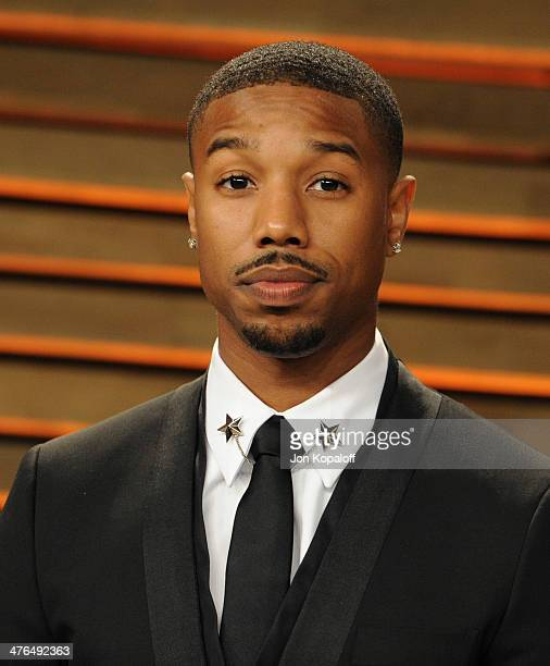Michael B Jordan attends the 2014 Vanity Fair Oscar Party hosted by Graydon Carter on March 2 2014 in West Hollywood California