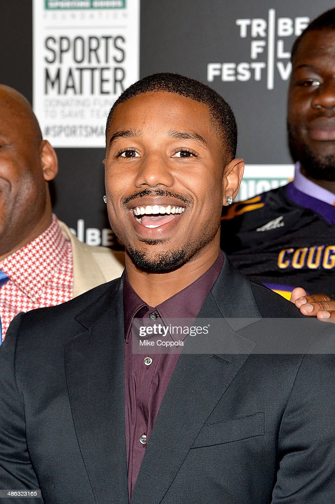 <a gi-track='captionPersonalityLinkClicked' href=/galleries/search?phrase=Michael+B.+Jordan+-+Actor&family=editorial&specificpeople=608313 ng-click='$event.stopPropagation()'>Michael B. Jordan</a> attends the Dick's Sporting Goods 'We Could Be King' Premiere during the 2014 Tribeca Film Festival at Sunshine Landmark on April 23, 2014 in New York City.