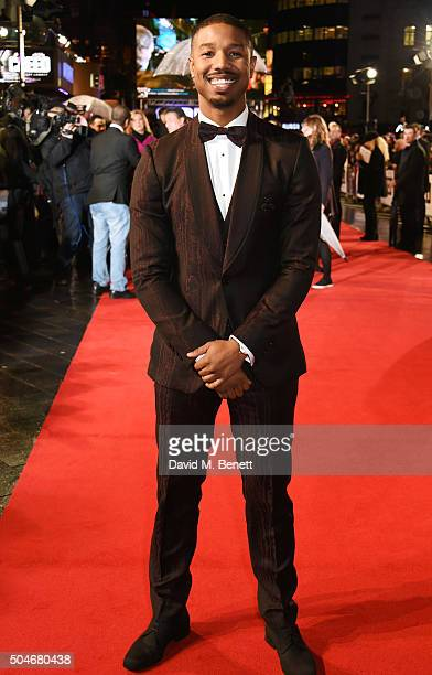 Michael B Jordan attends the European Premiere of 'Creed' at Empire Leicester Square on January 12 2016 in London England