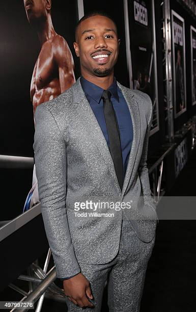Michael B Jordan attends the premiere Of Warner Bros Pictures' 'Creed' at Regency Village Theatre on November 19 2015 in Westwood California