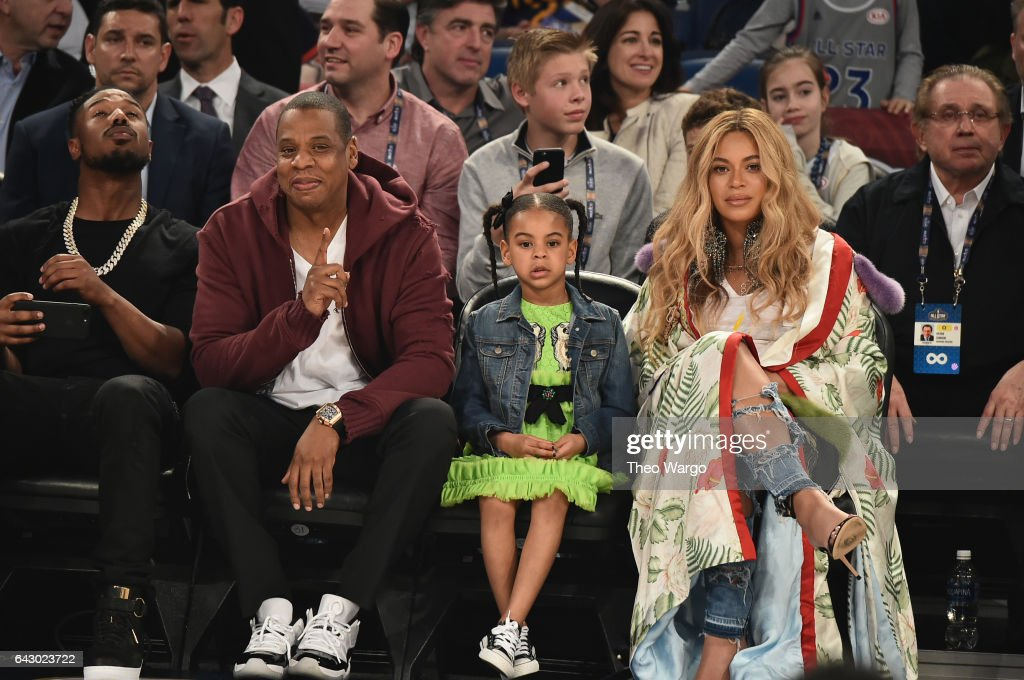 Michael B. Jordan, Jay Z, Blue Ivy Carter and Beyoncé Knowles attend the 66th NBA All-Star Game at Smoothie King Center on February 19, 2017 in New Orleans, Louisiana.