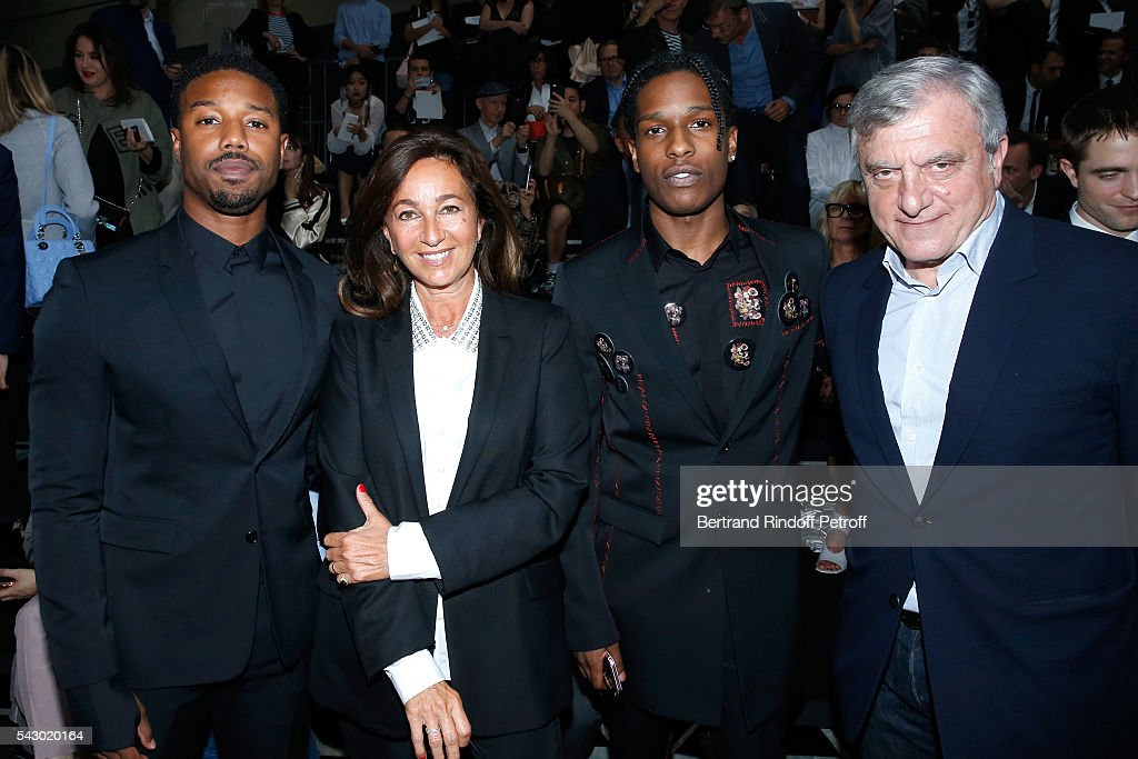 Michael B. Jordan, Katia Toledano, A$AP Rocky and Sidney Toledano attend the Dior Homme Menswear Spring/Summer 2017 show as part of Paris Fashion Week on June 25, 2016 in Paris, France.