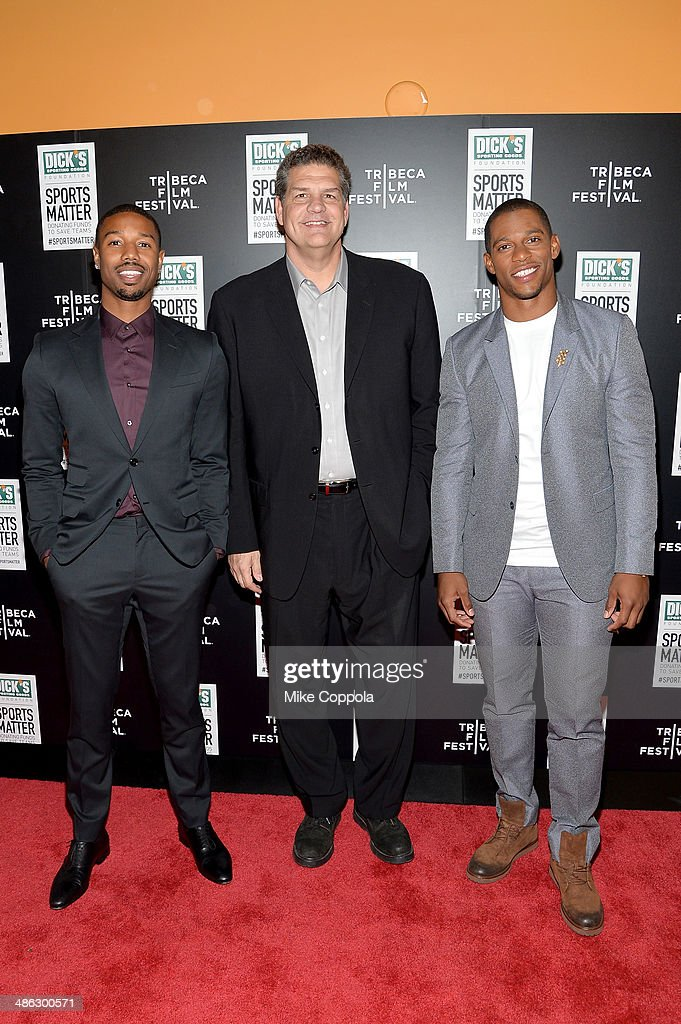<a gi-track='captionPersonalityLinkClicked' href=/galleries/search?phrase=Michael+B.+Jordan+-+Actor&family=editorial&specificpeople=608313 ng-click='$event.stopPropagation()'>Michael B. Jordan</a>, Mike Golic and <a gi-track='captionPersonalityLinkClicked' href=/galleries/search?phrase=Victor+Cruz+-+American+Football+Player&family=editorial&specificpeople=8736842 ng-click='$event.stopPropagation()'>Victor Cruz</a> attend the Dick's Sporting Goods 'We Could Be King' Premiere during the 2014 Tribeca Film Festival at Sunshine Landmark on April 23, 2014 in New York City.