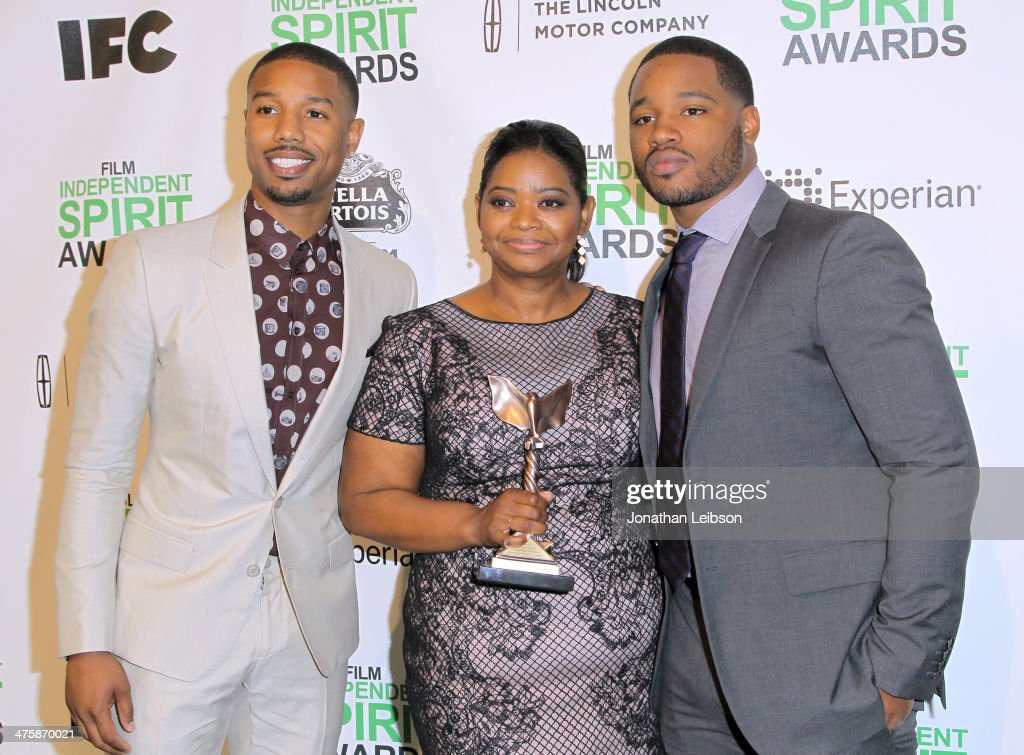 Michael B Jordan Octavia Spencer and Director Ryan Coogler pose with the Best First Feature Award for 'Fruitvale Station' in the press room during...