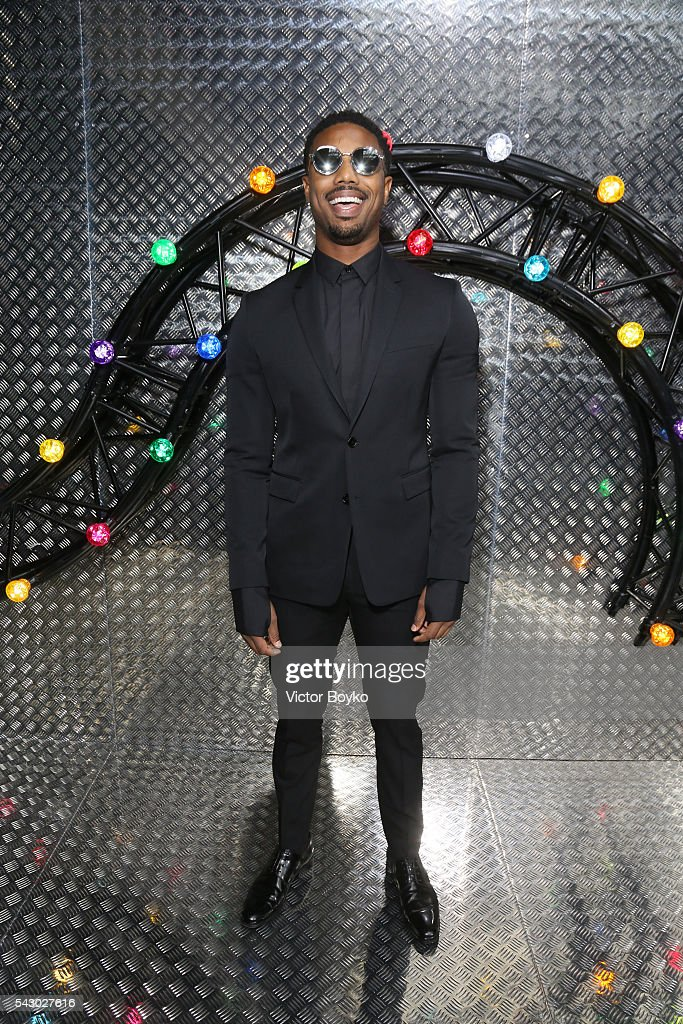 Michael B Jordan pose backstage at the Dior Homme Menswear Spring/Summer 2017 show as part of Paris Fashion Week on June 25, 2016 in Paris, France.