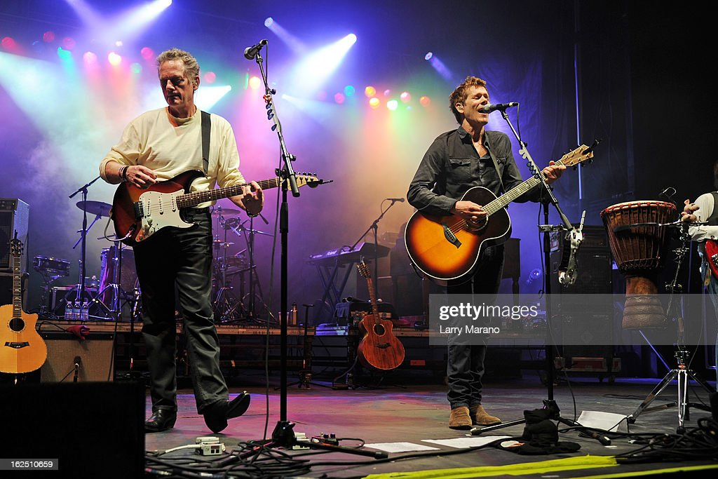 Michael Bacon and Kevin Bacon of The Bacon Brothers perform during the Bacon Festival at Seminole Casino Coconut Creek on February 23, 2013 in Coconut Creek, Florida.
