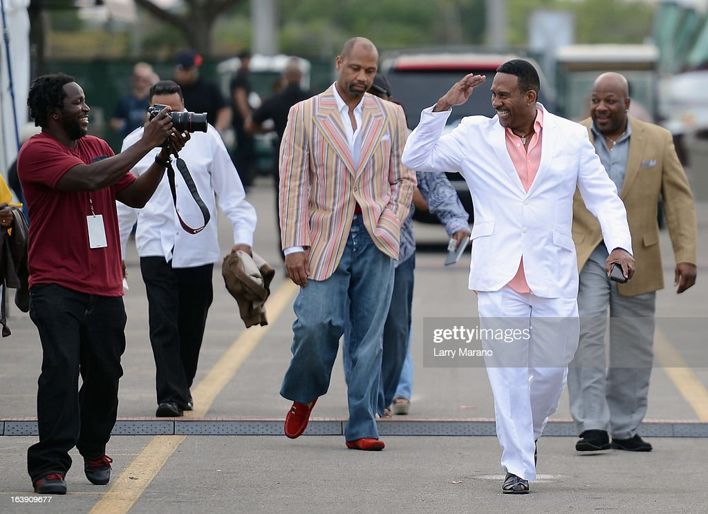 Michael Baisden (R) arrives backstage at the 8th Annual Jazz in the Gardens Day 2 at Sun Life Stadium presented by the City of Miami Gardens on March 17, 2013 in Miami Gardens, Florida.
