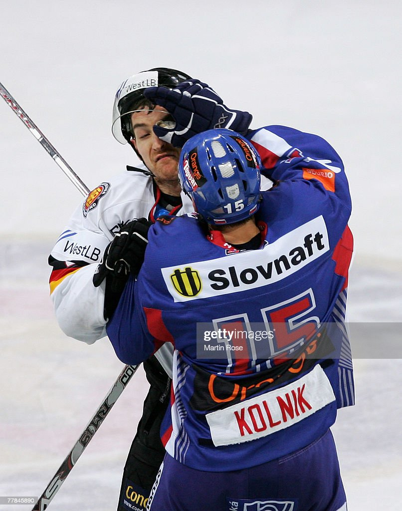 Michael Bakos of Germany fights with Juraj Kolnik of Slovakia during the German Nations Cup third place match between Germany and Slovakia at the TUI...