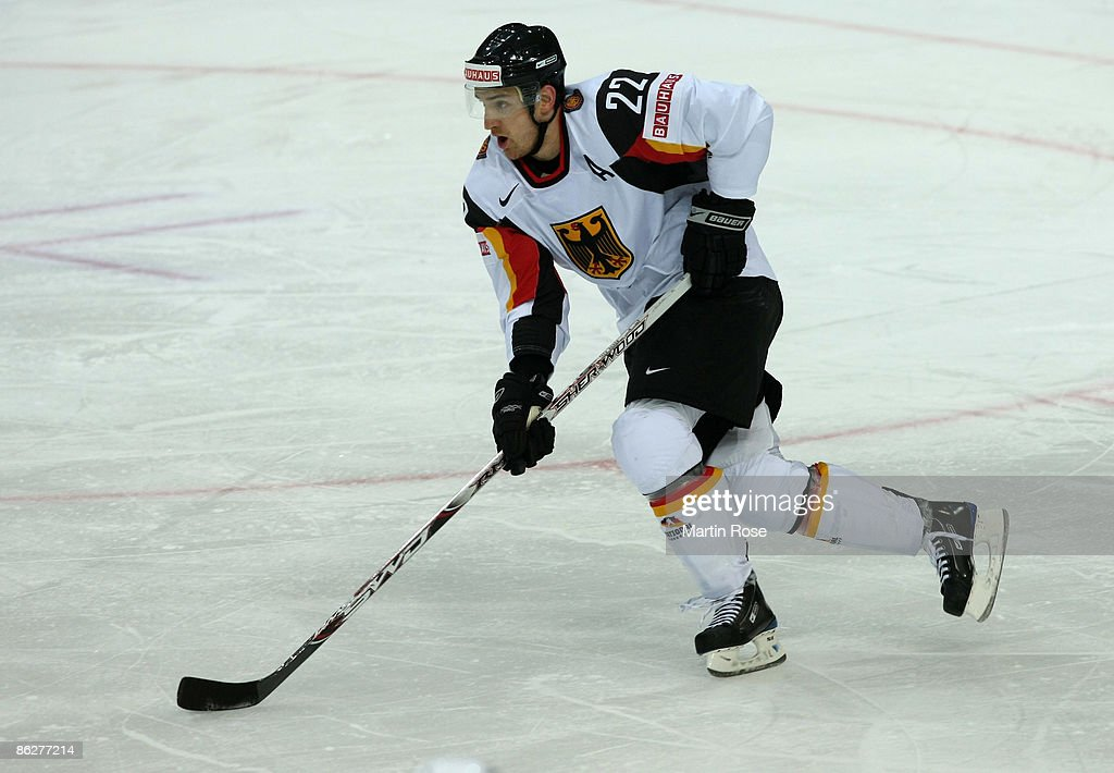 Michael Bakos of Germany skates during the IIHF World Ice Hockey Championship preliminary round group B match between France and Germany at the Post...